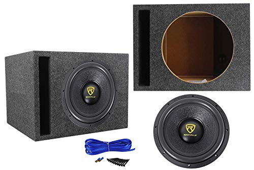 Rockville W12K9D2 12' 4000 Watt Car Audio Subwoofer + Vented Sub Box Enclosure