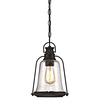 Westinghouse Lighting 6339900 Brynn One-Light Outdoor Pendant Oil Rubbed Bronze Finish with Highlights and Clear Seeded Glass