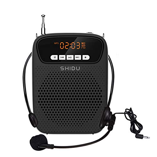 SHIDU Voice Amplifier Wired Microphone Support Bluetooth, FM, Recording 15W All in One Speaker Hear Loud with Mask On for Teachers, Tour Guide, Coaches, Presentation