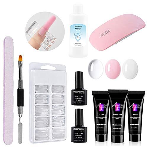 Anself Kit de gel de extensión de uñas, juego de gel de extensión para constructor de uñas, herramienta de esmalte de gel para manicura y fototerapia