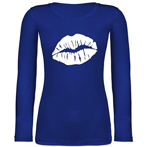 Shirtracer Karneval & Fasching - Lippen Kostüm - weiß - S - Blau - 32 - BCTW071 - Langarmshirt...