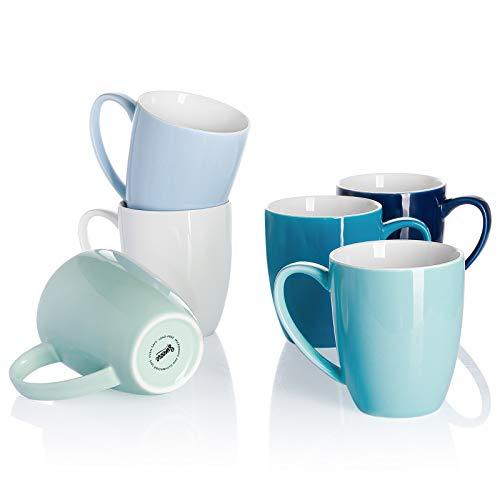 Sweese 611.003 Kaffeebecher Kaffeetassen 6er Set aus Porzellan, 350 ml Becher mit henkel für Heißgetränke, Blaue Serie