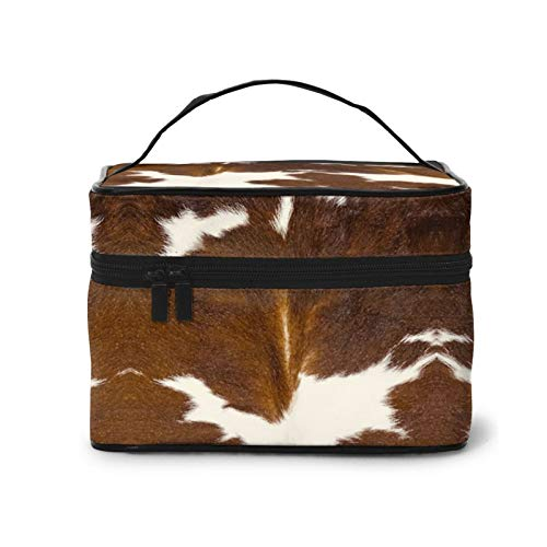 Portable For Cosmetic Bag for Women Brown Calf Cowhide Professional Train Case Organizer Multifunction Case