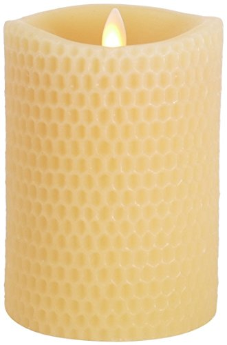 Luminara Beeswax Flameless Candle: 360 Degree Top, Unscented Moving Flame Candle with Timer (5' Yellow)
