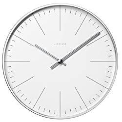 Max Bill clock.22cm diam. Stainless steel case. Quartz movement. Mineral glass face with marker bars
