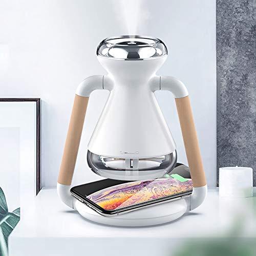 YTBLF Humidificador de Fugas Aire, Cargador teléfono móvil inalámbrico Qi, Fuente de alimentación USB, sincronización Inteligente, Mini pulverizador humidificador de Escritorio para el hogar