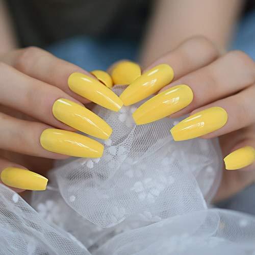 EchiQ Neon Bright Leon Yellow Press on False Nails Extra Lang Sarg Ballerina Form UV Gel Kleber auf Fingerschnecken Gratis Klebebänder