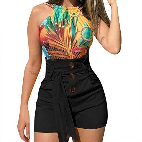 SHOBDW Pantalones Cortos Mujer 2020 Verano Playa Sexy Pantalones Deporte Mujer Botón Cordón Cintura Elástica Casual Pantalones Chandal Mujer Tallas Grandes Mujer Regalo(A-Negro,XL)