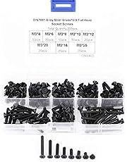 Pack van 200 Stks M3 10.9 Grade Verzonken Platte Hoofd Hex Socket Schroeven Bouten voor Machine Bevestiging Assortiment Kit,4-25MM