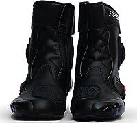 バイクシューズ ライディングシューズ レーシングブーツ バイク用 ショートブーツ ライダーブーツ (ブラック, 45(27.5cm))