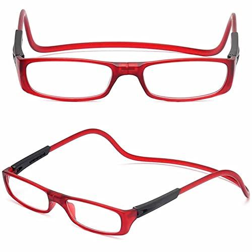 YSDQ Gafas de Lectura magnticas Gafas de Lectura Ajustables con Cuello Colgante Ayuda de Lectura TR magntica para Hombres y Mujeres 2 Pcs