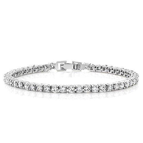 Gem Stone King 10.00 Ct Round Cut Stunning Cubic Zirconias CZ 7 Inch Women Tennis Bracelet