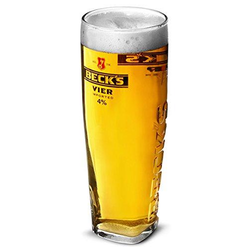 Beck's Vier - Bicchiere quadrato in vetro goffrato e nucleato (1 bicchiere)