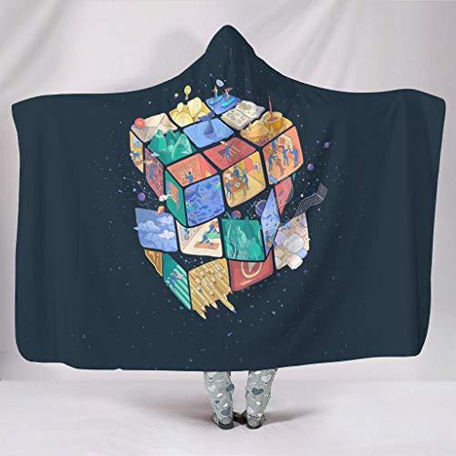 Hothotvery Manta con capucha de Rubik s Cube World con capucha, cómoda y mullida, de peluche, Navidad, para sofá, color blanco, 130 x 150 cm