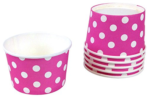 Just Artifacts Paper Ice Cream Cups 12pcs Polka Dot Magenta