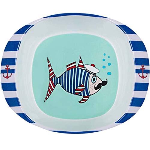 Les Trésors De Lily [R0643 - Assiette bébé mélamine 'Saperlipopette' Bleu (Mr. Fish) - 16.5x13.5x4.2 cm