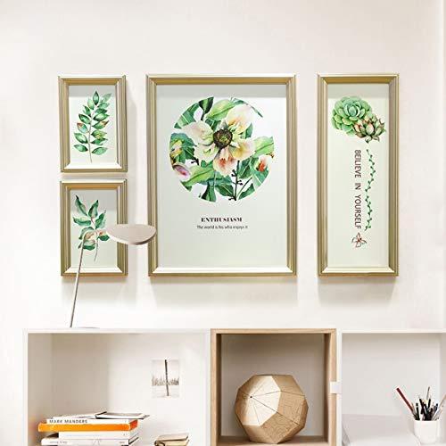 AYCPG Collage Foto Collage Foto Wand Wood Foto mit Uhren Rahmen Wandrahmen Kreative Wohnwand im europäischen Stil Lucar (Farbe: B, Größe: 4 Stück)