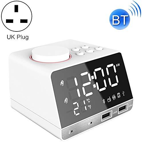 Moderne mute-klok, K11 bluetooth-wekkerluidspreker creative-digitale muziek-klok-weergave-radio met dubbele USB-interface, ondersteuning voor u Disk/TF/FM/AUX, UK-stekker, Home Office Afneemba