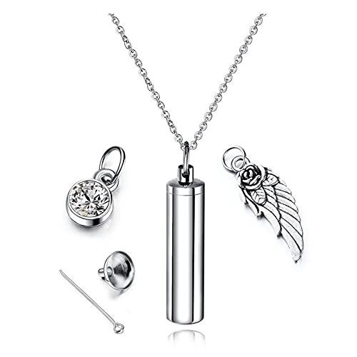 XKUN Collar de urna de cremación+collar de joyería de acero inoxidable quirúrgico, colgante de recuerdo de ceniza, plata por defecto