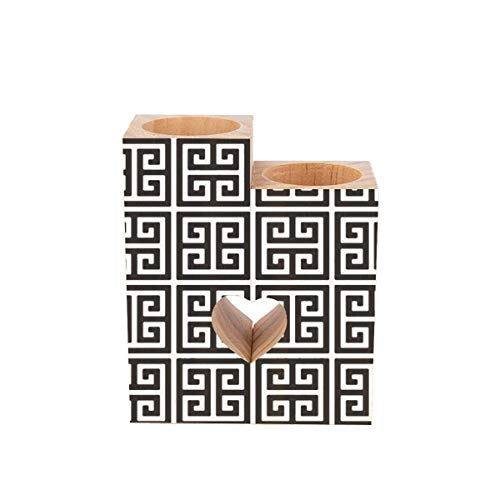 wellay Tea Light Candle Holders,Black and White Greek Key Personalized Wooden Heart Pedestal Candle Holder for Rustic Wedding Party Birthday Holiday Home Decor