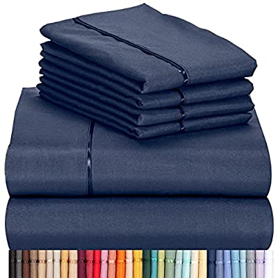 """LuxClub 6 PC Sheet Set Bamboo Sheets Deep Pockets 18"""" Eco Friendly Wrinkle Free Sheets Machine Washable Hotel Bedding Silky Soft - Navy Queen"""