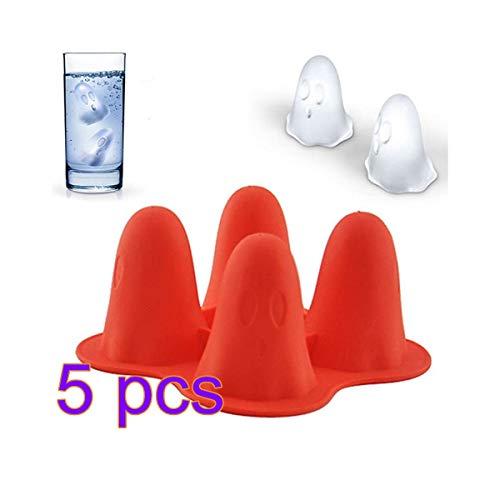 jianji 5Pcs/10Pcs Silikon Geist Form Eiswürfel Form, Halloween Eiswürfel Schalen, Party Bar Eisform, zum Kühlen von Wein Oder Saft