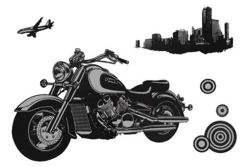 Unbekannt 6 TLG. Set XL Wandtattoo / Fensterbild / Sticker - Motorrad Moped Biker Bike - Wandsticker Aufkleber - Bike Moto GP Superbike Rennmotorrad Rennstrecke