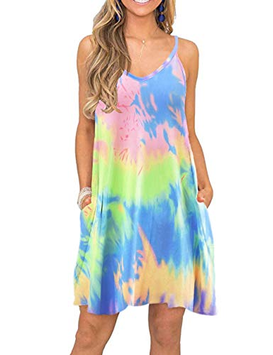 MISFAY 4X Summer Swimsuit Cover ups Spaghetti Strap Tie Dyed Plus Size Dress
