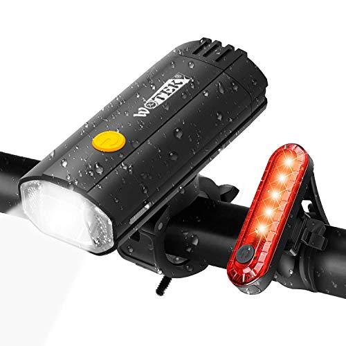 WOTEK 2 in 1 Luces para Bicicleta LED Impermeable, Power Bank 4000mAh Luces Bicicleta Delantera y Trasera Recargable USB, Super Lluminación 4 Modos Luz Bici para Ciclismo Carretera y Montaña