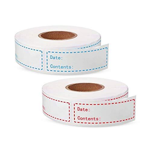 Hwtcjx pegatinas blancas adhesivas, etiquetas congelador, 400 piezas etiquetas adhesivas, Se utiliza para botella, tarros de vidrio, tarros de almacenamiento de alimentos, envase de regalo (75 x 25mm)
