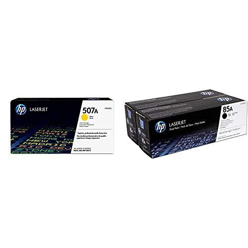 HP 507A CE402A, Amarillo, Cartucho Tóner Original, de 6.000 páginas + CE285AD 85A Cartucho de Tóner Original, 2 Unidades, Negro
