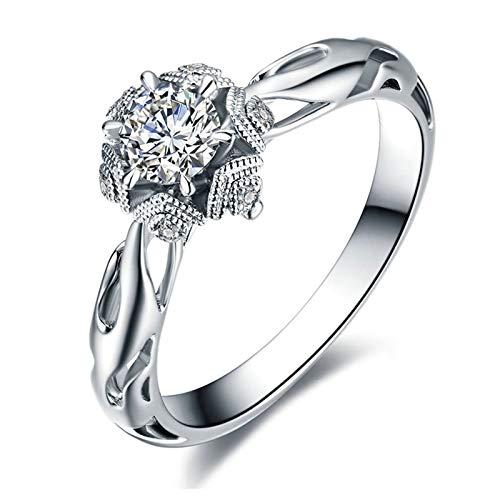 Daesar Anillos de Oro 18K Blanco,Anillos Compromiso Mujer Plata 4 Garras Redonda 0.4ct Diamante 0.02ct Anillo Talla 22