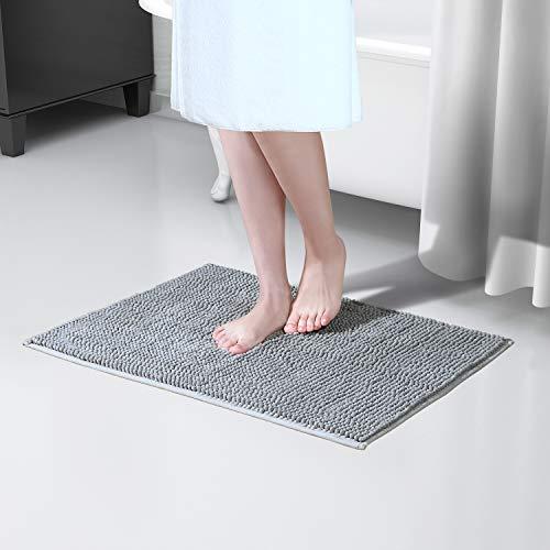 Lifewit rutschfeste Badematte 61 x 43 cm Badteppich aus Chenille Teppich für Badezimmer Grau