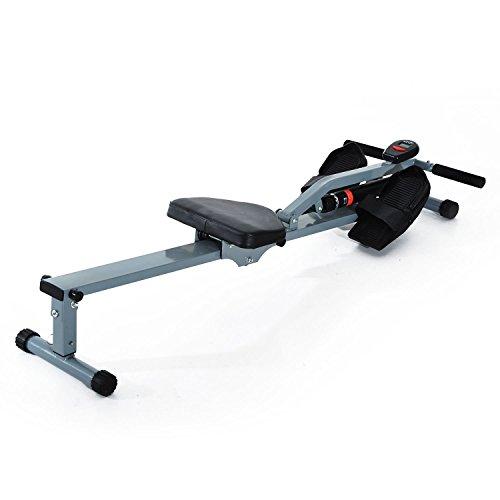 HOMCOM Máquina de Remo Ajustable con Pantalla para Fitness y Ejercicios de Musculación o Resistencia para Gimnasio Casa Carga 100KG