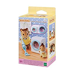 The drum inside the washing machine can be spun around. Turning the drum gives the impression of water flowing inside the machine. The hand-held vacuum can be removed from the main unit. The vacuum cleaner can be used as a standalone unit. Sylvanian ...