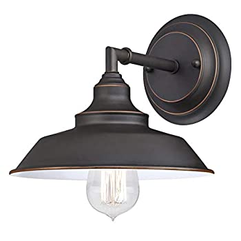 Westinghouse Lighting 6343500 Indoor Wall Fixture 1-Light Sconce Oil Rubbed Bronze/White