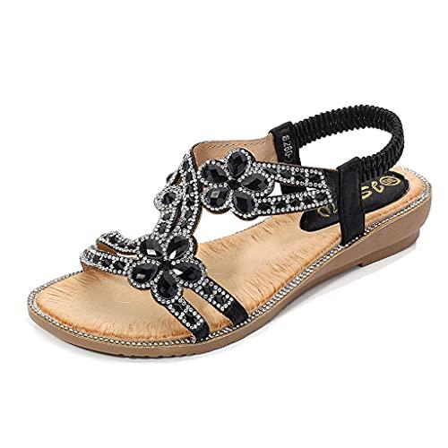 Sandalias para mujer Casual Cómodo T-Strap T-Strap con cuentas de grano Rhinestone Sandalias planas Vestimenta Zapatos de playa Verano Casual casual antideslizante Luz de resbalón Zapatillas cómodas