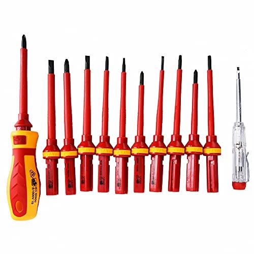 Destornilladores Múltiples, Juego de Destornilladores Aislados 13Pcs, Destornillador de Cruz de Precisión Destornillador Plano, Destornillador de Electricista, Herramientas Reparación Aisladas(rojo)