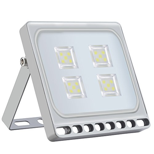 Yuanline Ultra-Slim LED Floodlight for Outdoors, IP67 Waterproof, Indoor and Outdoor Use for Garden, Patio, Square, Lighthouse – High Quality (Cold White, 20W)