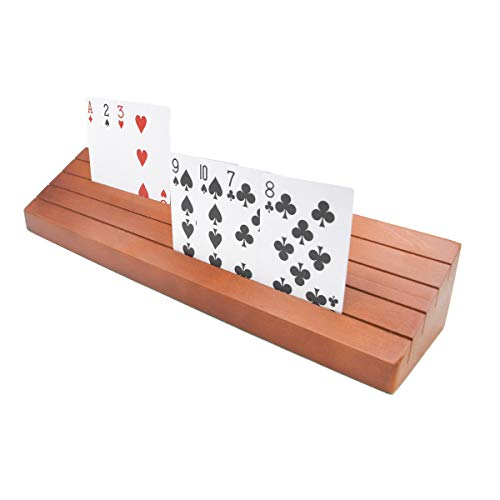 Wooden Playing Card Holder Set of 2 Solid Card Tray Rack Organizer for Kids Seniors Adults - 13.8 inch 3.1 Inch Extended Versions Long Enough for Bridge Canasta Strategy Card Playing