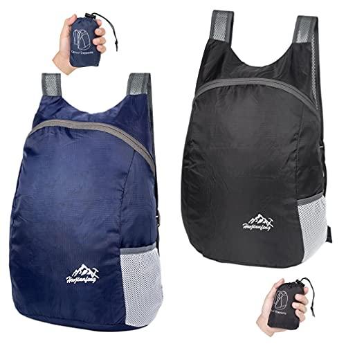 Feibmir 2 Sacs à dos pliables ultra légers, sacs à dos de randonnée résistants à l'eau, sacs à dos pliables pour hommes, femmes, enfants, voyageant en camping en plein air à vélo