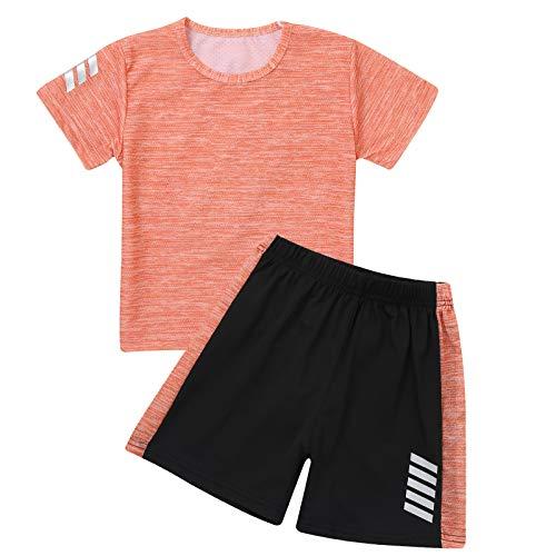 iiniim Kinder Mädchen Jungen Sport-Set 2tlg. Schnelltrockend T-Shirt + Shorts Trainingsanzug für Yoga Jogging Training Y Orange Y 134-140