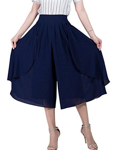 Tanming Women's High Elastic Waist Pleated Chiffon Wide Leg Capri Pants Culottes (X-Large, Blue)