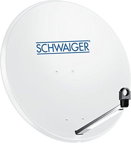 SCHWAIGER -159- Satellitenschüssel, Sat Antenne mit LNB Tragarm und Masthalterung, Sat-Schüssel aus Stahl, 75 x 85 cm