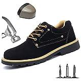 HOAPL Hombres Botas de Seguridad para el Trabajo con Punta de Acero Zapatos Zapatillas de Deporte industriales a Prueba de pinchazos a Prueba de pinchazos Zapatos de protección Transpirables,Negro,41