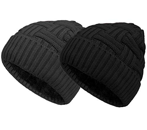Loritta 2 Pack Winter Beanie Hat Set Warm Knitted Wool Slouchy Thick Baggy Beanie Skull Cap for Men Women Gifts, Multi B