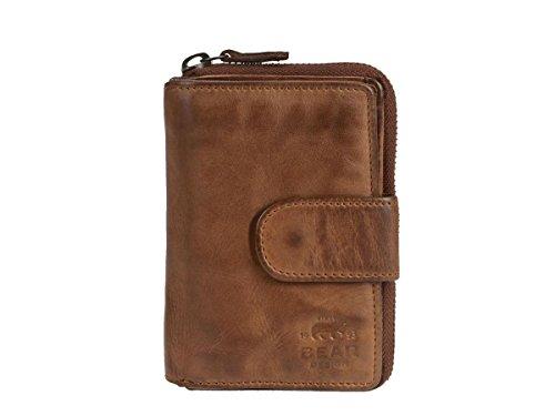 Bear Design Damen Geldbörse Leder Portemonnaie Geldbeutel 10 Kartenfächer Cognac