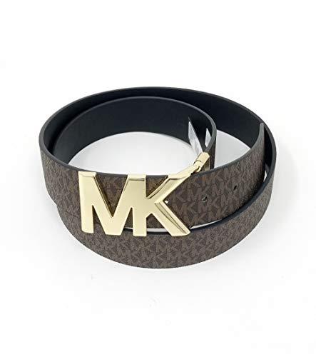 Michael Kors 38mm Leather Reversible MK Logo Plaque Buckle Belt (Brown/Black, M)