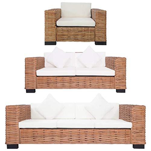 vidaXL Sofagarnitur 3-TLG. mit Auflagen Sofa Couch Sessel Loungesofa Sitzmöbel Wohnzimmersofa Rattansofa Designsofa Couchgarnitur Natur Rattan