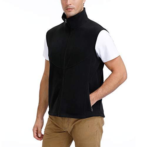 MOHEEN Men's Sleeveless Jacket Stand Collar Gilet Outdoor Lightweight Fishing Polar Fleece Vest(S,Black)